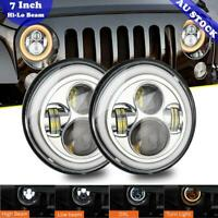 "Pair 7""inch Chrome Led Headlights Halo Angle Eyes For Jeep Wrangler Jk Lj Tj Cj"