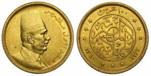 EGYPT , GOLD 100 PIASTRES KING FUAD FOUAD 1922 - UNC ( SPA ) , RARE