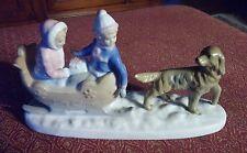"Paul Sebastian Porcelain Figurine Kids Sleigh Ride Golden Retriever Dog 9"" Long"