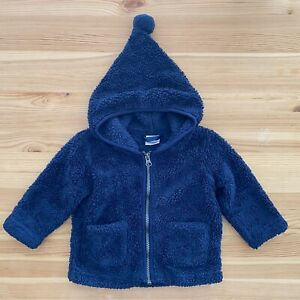 HANNA ANDERSSON Navy Fuzzy Hooded Sweater Coat Size 75 12-18 Months