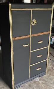 Black furniture wardrobe antique furniture black&gold