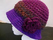 PURPLE & PLUM HANDMADE HAND CROCHET HAT CAP CLOCHE CHEMO FLOWER BEANIE ADULT