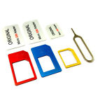 PC Nano SIM Card to Micro Standard Adapter Adaptor Converter Set for iPhone6 5 4