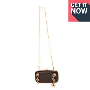 RRP €2465 VALENTINO GARAVANI Leather Clutch Minaudiere Bag Flowers Chain Strap