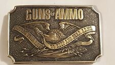 Vintage Guns & Ammo Brass Belt Buckle 1978 Great American Buckle Co Chicago