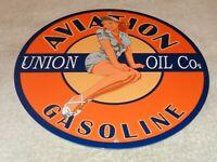 """VINTAGE """"UNION OIL AVIATION GASOLINE PIN UP MODEL"""" 11 3/4"""" PORCELAIN METAL SIGN!"""