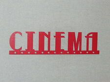 "Large 24"" Red Cinema Wood Wall Word With Stars Sign Movie Theater Art Decor"