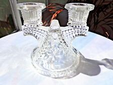 Federal Glass Wigwam Pattern 2 Light Candlestick Holder c 1930's Multiple Avail