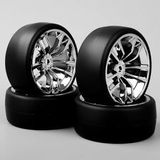 4PCS 1/10 RC Speed Drift Racing Car Slick Tires & Chrome Wheel For HSP HPI SBDC