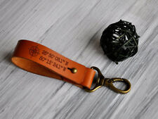 Custom Personalized Leather Keychain Groomsman Gift Men Key Chain Coordinates