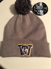 Washington Huskies NCAA Gray Vintage Knit Beanie Pom Z Winter Ski Cap Hat NWT