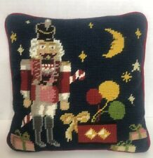 Christmas Needlepoint Pillow Nutcracker Gifts Small 9.5 x 9.5 Navy w/Red Back