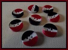 LOT 8 BOUTONS noir blanc rouge  12 mm 4 trous * mercerie button 1,2 cm tricolore