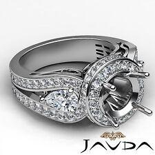 3 Stone Diamond Engagement Filigree Ring 1.85Ct 14k White Gold Round Semi Mount
