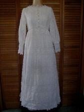 Wedding Dress vintage 1960s 1970s sz Xxs Xs cotton lace raised waist Emma Domb