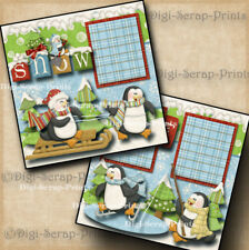 WINTER SNOW ~ 2 premade scrapbook pages paper piecing layout for ablum DIGISCRAP