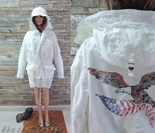 RALPH LAUREN WOMEN AMERICAN LIV/ FISHTAIL HOOD WHITE COTTON LOGO PARKA M/XL 🦅