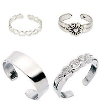 New Set Of 4 Sterling Silver Toe Rings inc ❤️Plain ,5cz,Flower, comes Gift Boxed