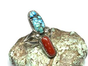 Vintage Navajo Sterling Silver Turquoise & Coral Stone Long Ring (Sz. 6.75)