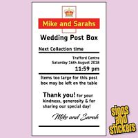 Personalised Royal Mail Wedding Card Post Box Card Sticker Any Size