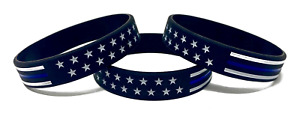 TheAwristocrat 3 Pack of Stars and Stripes Thin Blue Line Rubber Wristbands