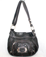 B MAKOWSKY Black Leather Accent Stitch Convertible Shoulder Crossbody Handbag