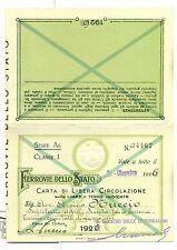 TESSERA - Carta di Circolazione FERROVIE DELLO STATO 1926
