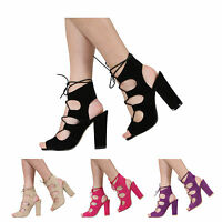 NEW WOMENS LADIES HIGH BLOCK HEEL PEEPTOE CUTOUT LACE UP SANDAL SHOES SIZE 3-8