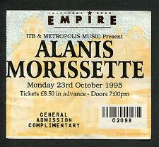 1995 Alanis Morissette concert ticket stub London Jagged Little Pill