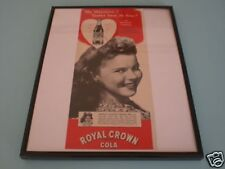 1940's ROYAL CROWN SODA SHIRLEY TEMPLE FRAMED AD 11x14