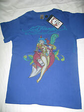 "Ed Hardy Men's Medium Blue ""Devil Women"" Rhinestone T-Shirt. Authentic. New."