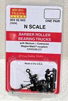 Micro-Trains 00302043 N 1024 Barber Roller Bearing Trucks w/Medium Ext. Couplers
