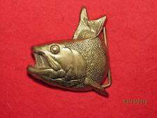 Vintage Solid Brass Large Mouth Bass Belt buckle Unique Fisherman Fish Rare