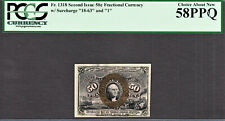 Fractional Currency 2nd Issue 50 Cents FR# 1318 With Surcharge AUNC PCGS 58 PPQ