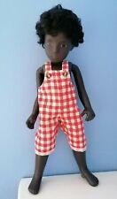 BJB Vintage Sasha doll clothes, Short orange and cream check dungarees