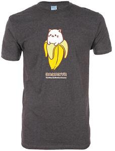 **Legit** Bananya Cute Cat in Banana Authentic Anime Unisex Gray T-Shirt #90693
