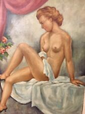 Lady in Boudoir Oil Painting, Signed Charles Frydrych (1913 -90)