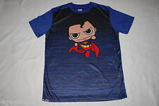Mens S/S Tee Shirt BABY SUPERMAN Black Blue ATHLETIC Polyester SIZE M 38-40