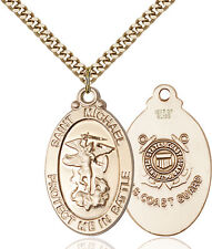 14K Gold Filled St Michael Guardian Angel Coa Military Catholic Medal Necklace