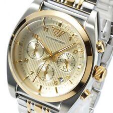 Reloj Cronógrafo nuevo Emporio Armani AR0396 Para Hombre Dos Tonos Oro -2 Y. Garantía