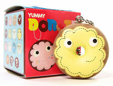 Kidrobot Yummy Donuts Series HONEY - YELLOW FROSTED RING DONUT Flocked Keychain