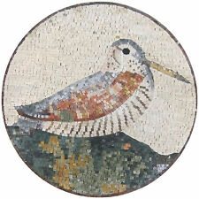 Bird Medallion Rounded Nature Garden Decor Marble Mosaic An1056