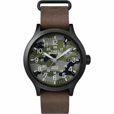 """Timex TW4B06600, Men's """"Expedition"""" Brown Leather Watch, Scout, Date, Indiglo"""