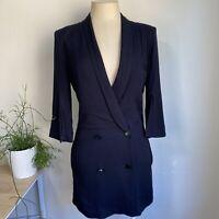 August Size 8 Black Blazer Dress Jacket Style Open Low Back Short