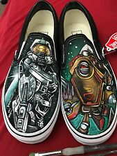 Custom TATTOO hand painted Men's sneakers VANS slip ons HALO Game Shoes Gamer