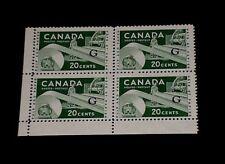 CANADA #O45a, OFFICIAL, G OVERPRINT BLOCK/4, L/L, MNH, NICE! LOOK!