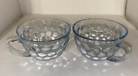 Vintage Anchor Hocking Fire King Bubble Design Sapphire Blue Pair Of Cups -Mint