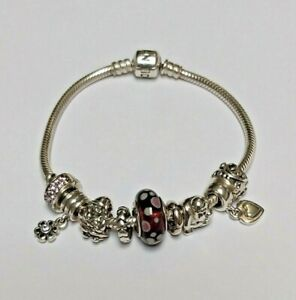 "Authentic Pandora Barrel Clasp Bracelet w/ Pandora Charms 7.5"" 19cm  Very Nice !"