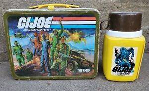 Vintage 1982 GI Joe Metal Lunch Box w/ Thermos Lunchbox