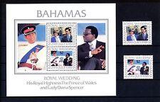 Bahamas 480/1 + Block 33 ** Hochzeit von Prinz Charles und Lady Diana Spencer